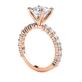 2.3 karat G SI2 diamant Engagement Ring 14K Rose Gold Solitaire w accenter 4 stikben prinsesse