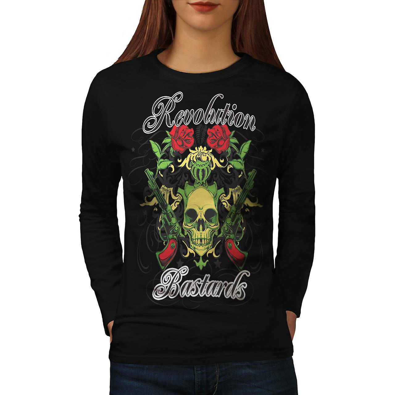 Revolution Bastards Roses Guns Women Black Long Sleeve T-shirt | Wellcoda