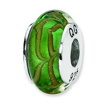 Sterling Silver Reflections Lt. Green Tan Swirl Hand-blown Glass Bead Charm