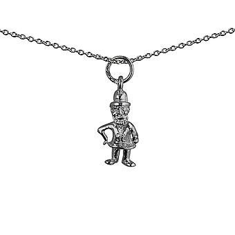 Silver 17x9mm Leprechaun Pendant with a rolo Chain 24 inches