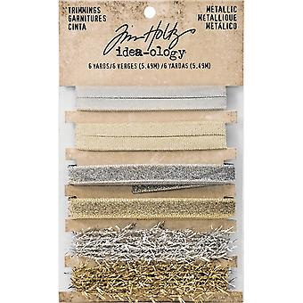 Idea-Ology Metallic Trimmings 1yd 6/Pkg-Gold & Silver .25