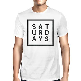 Saturdays Unisex White T-shirt Cute Short Sleeve Tee Funny Shirt