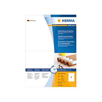 Labels weather-resistant white 210x148 Herma A4 LC