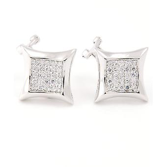 Sterling 925 Silver MICRO PAVE earrings - CURVED 12 mm