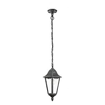 Eglo Navedo 1 Light Outdoor Pendant Black/Silver IP44