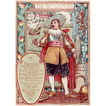 Walter Crane - Columbia's Courtship The Dutchman Poster Print Giclee