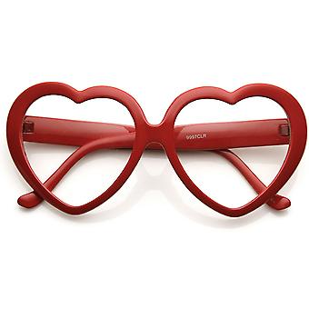 Womens Oversized Heart Shaped Clear Lens Sunglasses