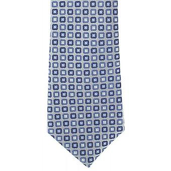 Michelsons of London Neat Silk Tie - Silver/Blue