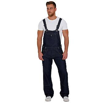 Mens - Relaxed Fit Dungarees - Dark Wash Peviani Bib Overalls adjustable waist