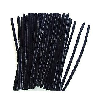 50 Chunky Black Craft Pipe Cleaners - Spider Legs! | Chenille Stems