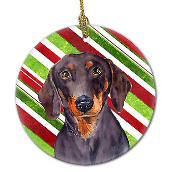 Dachshund Candy Cane Holiday Christmas Ceramic Ornament LH9223