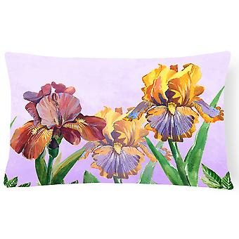 Purple and Yellow Iris Canvas Fabric Decorative Pillow