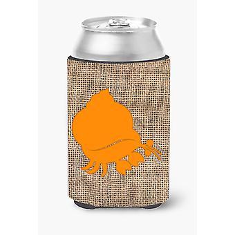 Hermit Crab Burlap and Orange Can or Bottle Beverage Insulator Hugger