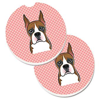 Checkerboard Pink Boxer Set of 2 Cup Holder Car Coasters