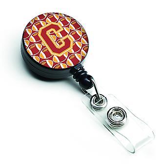 Letra C fútbol cardenal y oro insignia Retractable carrete