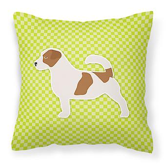 Jack Russell Terrier Checkerboard Green Fabric Decorative Pillow