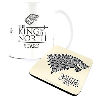 Game Of Thrones Mug and Coaster King In The North new official Gift set