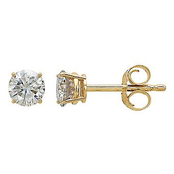 Synthetic Moissanite Solitaire Earrings 0.44 Carat (ctw) 4.00mm in 14K Yellow Gold
