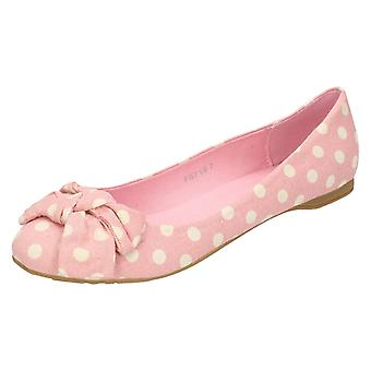 Ladies Spot On Flat Bow Trim Ballerina Shoe F8718