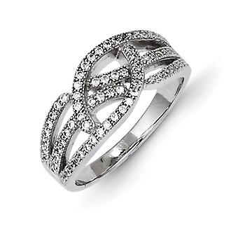 Sterling Silver and Cubic Zirconia Brilliant Embers Ring - Ring Size: 6 to 8
