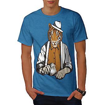 Tiger Poker Cool Gangster Men Royal BlueT-shirt | Wellcoda
