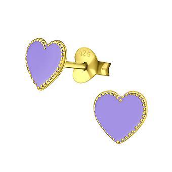 Corazón - 925 plata esterlina zarcillos colores