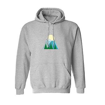 Vector Mountain Sunrise Graphic Design Men's Sports Grey Hoodie