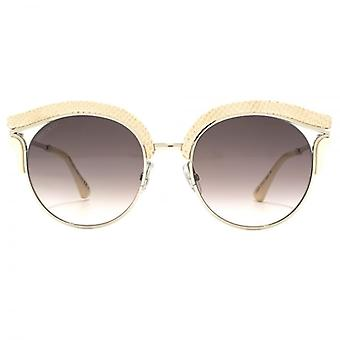 Jimmy Choo Lash Sunglasses In Gold Pink Leather