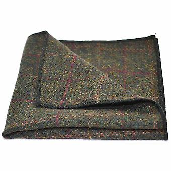Heritage Check Moss Green Pocket Square, Handkerchief