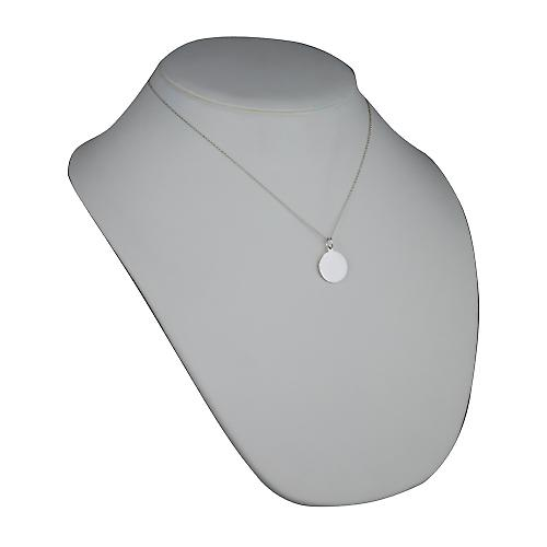 Silver 17mm round plain Disc with a rolo Chain 18 inches