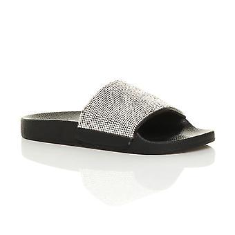 Ajvani womens slittamento piatto cursori su diamante mulo luccicanti sandali flip flop Pantofole