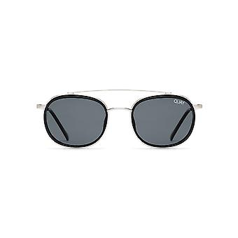 Quay Australia Got It Covered Silver & Black Sunglasses With Smoke Lens