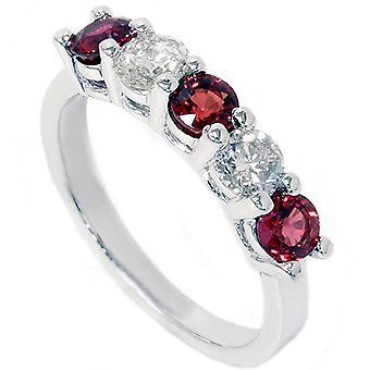 1 1 / 2ct красный сапфир & алмаз обручальное кольцо 14K Белое золото