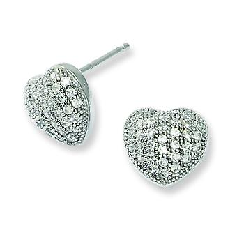 Sterling Silver Pave Rhodium-plated and Cubic Zirconia Polished Heart Post Earrings