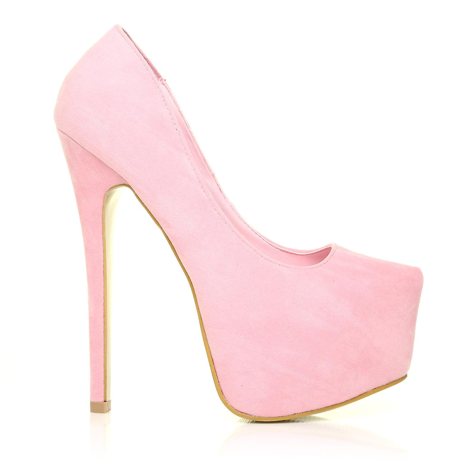 DONNA Baby Very Pink Faux Suede Stilleto Very Baby High Heel Platform Court Shoes 4549a8