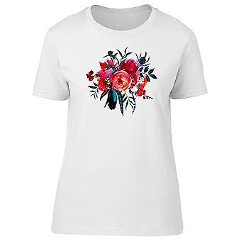 Red Navy Round Flowers Bouquet Tee Women's -Image by Shutterstock