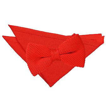 Red Knitted Bow Tie & Pocket Square Set