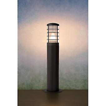 Lucide Black Driveway Bollard Column With Grills IP54, 50cm Tall