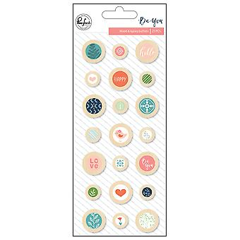 Be You Wood Epoxy Buttons 21/Pkg-