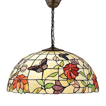 Interiors 1900 Butterfly Large Single Light Tiffany Ceiling Light