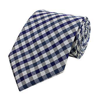 Cravate cravate cou lie Binder largeur 8cm bleu/gris damier Fabio Farini