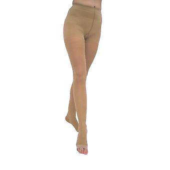 Pebble UK Signature Sheer Open Toe Compression Tights [Style P268] Silky Nude  S