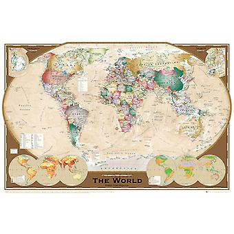 World Map Tripel Projection Poster Poster Print