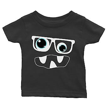 Monster With Glasses Baby Gift Tee Black