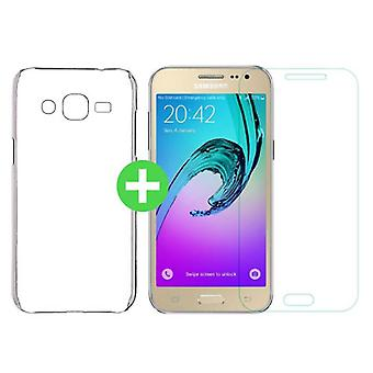 Stuff Certified ® Samsung Galaxy J2/J200F/J200G Transparent TPU Case + Screen Protector Tempered Glass