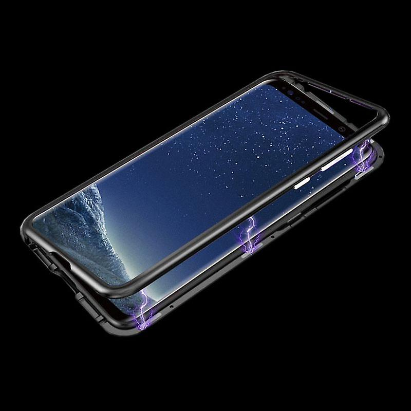 Für Apple iPhone XS MAX 6.5 Zoll Magnet / Metall / Glas Tasche Case Rosa / Transparent + 0,26 mm H9 Hart Glas