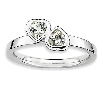 Sterling Silver Bezel Polished Rhodium-plated Stackable Expressions White Topaz Double Heart Ring - Ring Size: 5 to 10