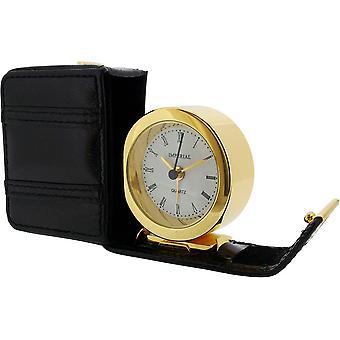 Geschenkartikel-Zeit Leder Case Wecker - Gold/Schwarz