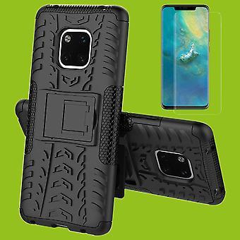 For Huawei kompis buet 20 Pro hybrid tilfelle 2 stykke black + 0.3 mm 4 d H9 full herdet glass bag coveret ermet