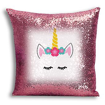i-Tronixs - Unicorn Printed Design Rose Gold Sequin Cushion / Pillow Cover with Inserted Pillow for Home Decor - 0